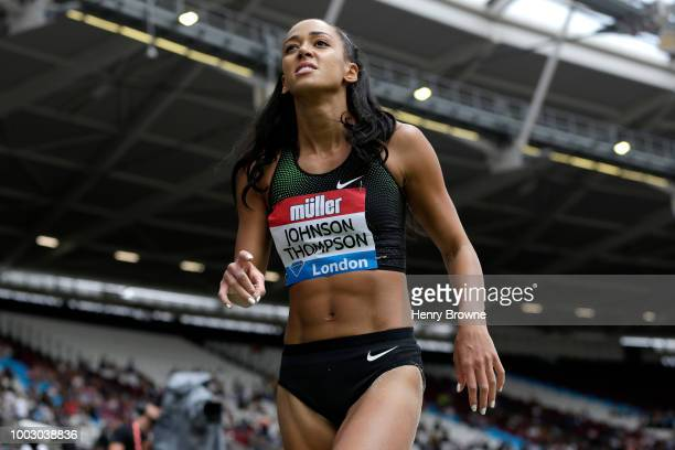 Katarina JohnsonThompson of Great Britain competes in the Women's Long Jump event during Day One of the Muller Anniversary Games at London Stadium on...