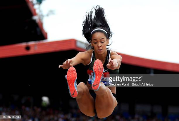 Katarina JohnsonThompson of Great Britain competes in the Women's Long Jump during the Muller Grand Prix Birmingham IAAF Diamond League event at...