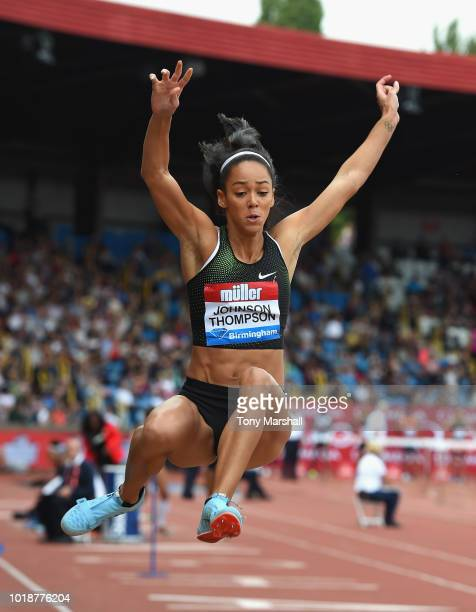 Katarina JohnsonThompson of Great Britain competes in the Womens Long Jump during the Muller Grand Prix Birmingham IAAF Diamond League 2018 on August...