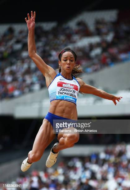 Katarina JohnsonThompson of Great Britain competes in the Women's Long Jump during Day Two of the Muller Anniversary Games IAAF Diamond League event...