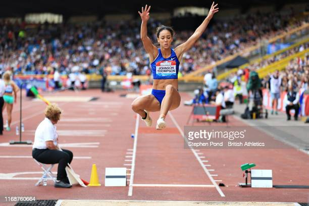Katarina Johnson-Thompson of Great Britain competes in the Womens Long Jump during the Muller Birmingham Grand Prix & IAAF Diamond League event at...