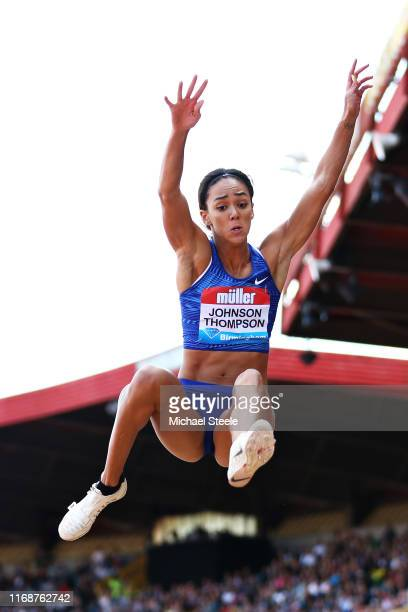 Katarina JohnsonThompson of Great Britain competes in the Womens Long Jump during the Muller Birmingham Grand Prix IAAF Diamond League event at...