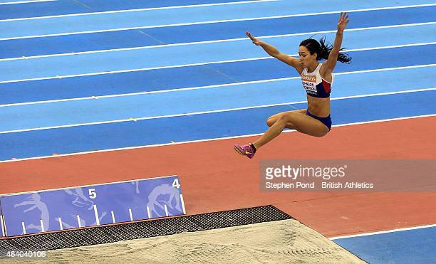 Katarina JohnsonThompson of Great Britain competes in the women's long jump during the Sainsbury's Indoor Grand Prix at the Barclaycard Arena on...