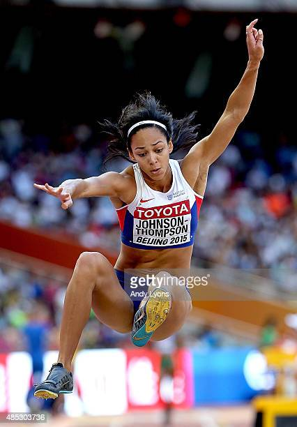 Katarina JohnsonThompson of Great Britain competes in the Women's Long Jump qualification during day six of the 15th IAAF World Athletics...
