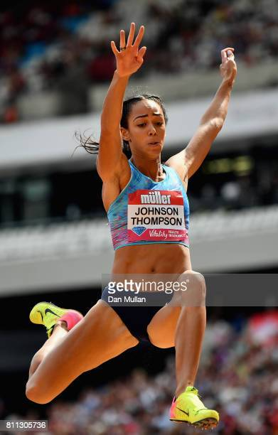 Katarina JohnsonThompson of Great Britain competes in the Women's Long Jump during the Muller Anniversary Games at London Stadium on July 9 2017 in...