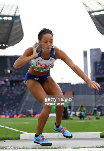 Katarina JohnsonThompson of Great Britain competes in the Women's Heptathlon Shot Put during day three of the 24th European Athletics Championships...