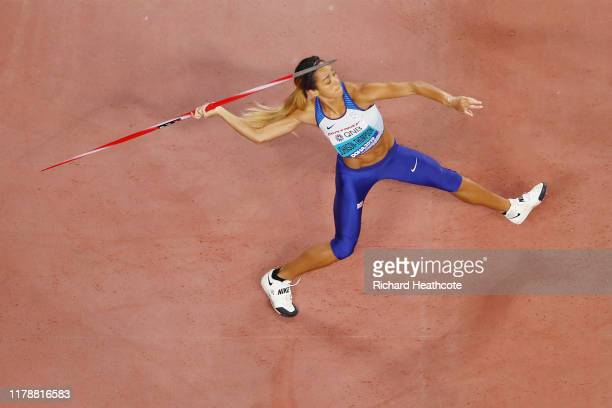 Katarina Johnson-Thompson of Great Britain competes in the Women's Heptathlon Javelin during day seven of 17th IAAF World Athletics Championships...