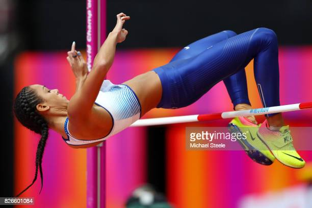 Katarina JohnsonThompson of Great Britain competes in the Women's Heptathlon High Jump during day two of the 16th IAAF World Athletics Championships...