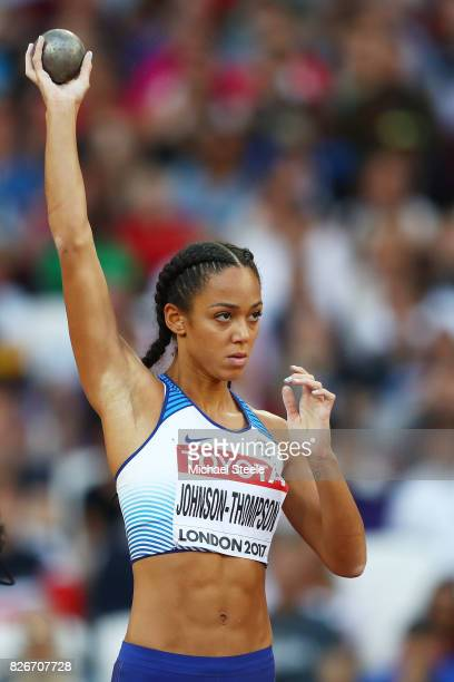 Katarina JohnsonThompson of Great Britain competes in the Women's Heptathlon Shot Put during day two of the 16th IAAF World Athletics Championships...