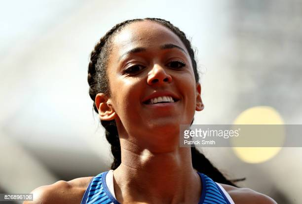 Katarina JohnsonThompson of Great Britain competes in the Women's Heptathlon Long Jump during day three of the 16th IAAF World Athletics...