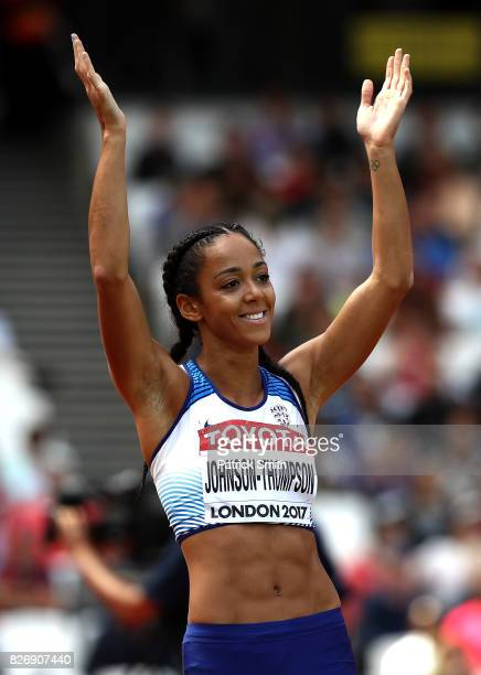 Katarina JohnsonThompson of Great Britain competes in the Women's Heptathlon Javelin during day three of the 16th IAAF World Athletics Championships...