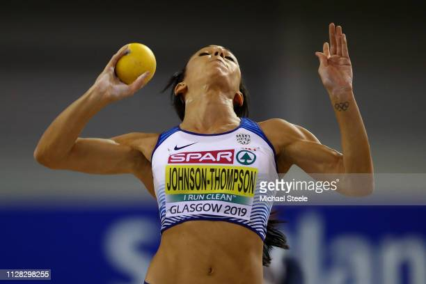 Katarina Johnson-Thompson of Great Britain in action during the Women's Pentathlon shot put on day one of the 2019 European Athletics Indoor...