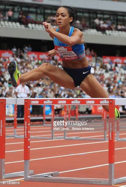 Katarina JohnsonThompson of Great Britain in action during the Womens 100m Hurdles during the Muller Anniversary Games at London Stadium on July 9...