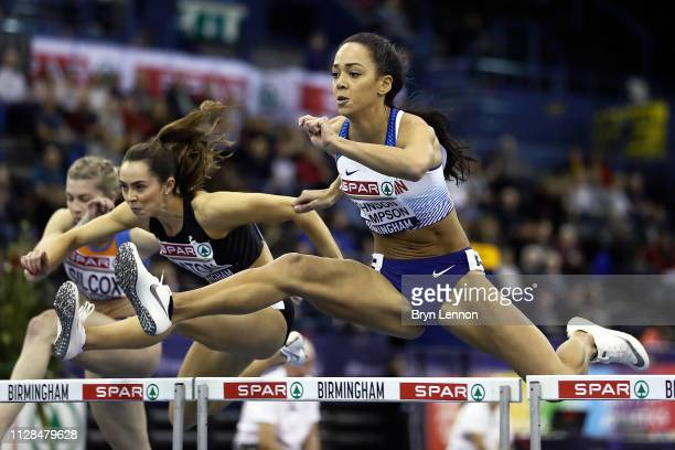 Katarina Johnson-Thompson of Great Britain in action in her 60m hurdles heat at Arena Birmingham on February 09, 2019 in Birmingham, England.