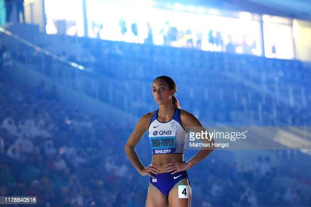 Katarina JohnsonThompson of Great Britain is introduced prior to the 800 Metres Women's Heptathlon during day seven of 17th IAAF World Athletics...