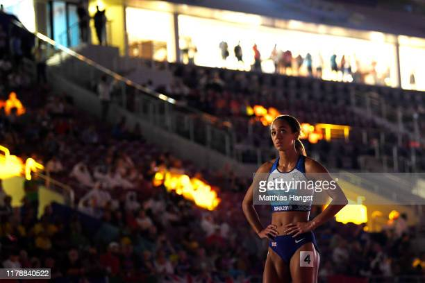 Katarina Johnson-Thompson of Great Britain is introduced prior to the 800 Metres Women's Heptathlon during day seven of 17th IAAF World Athletics...