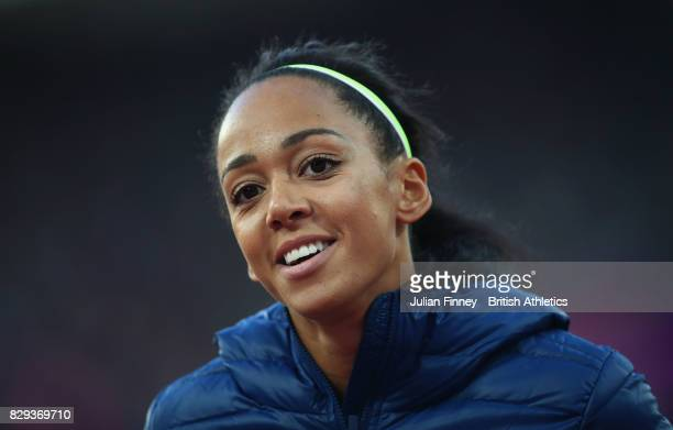 Katarina JohnsonThompson of Great Britain looks on during the womens high jump Qualification during day seven of the 16th IAAF World Athletics...