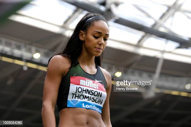 Katarina JohnsonThompson of Great Britain looks on in the Women's Long Jump during Day One of the Muller Anniversary Games at London Stadium on July...