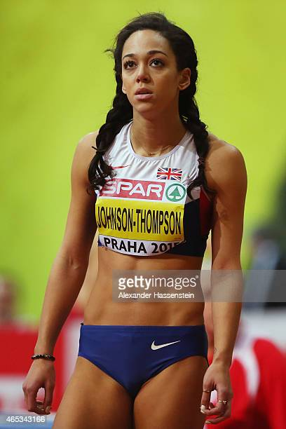 Katarina JohnsonThompson of Great Britain Northen Ireland looks on as she competes in the Women's Pentathlon High Jump during day one of the 2015...