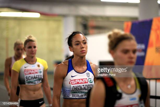 Katarina JohnsonThompson of Great Britain prepares before competing in the Women's Heptathlon 200m during day three of the 24th European Athletics...