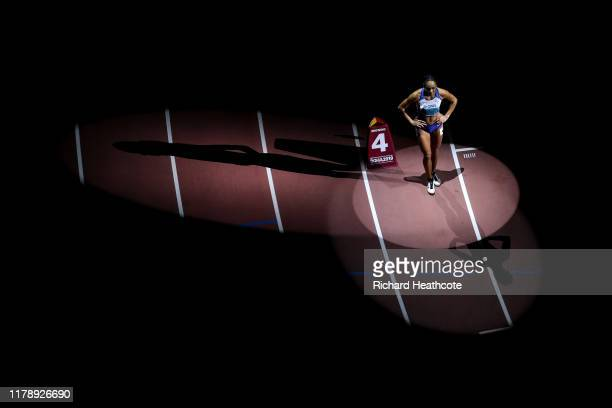 Katarina Johnson-Thompson of Great Britain prepares for the 800 Metres in the Women's Heptathlon during day seven of 17th IAAF World Athletics...