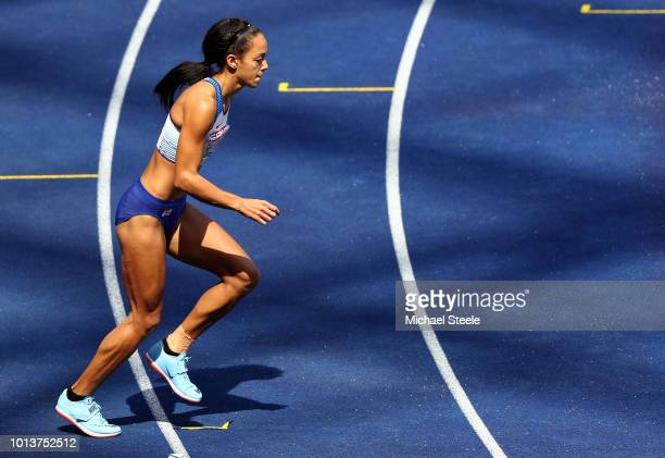 Katarina JohnsonThompson of Great Britain prepares to compete in the Women's Heptathlon High Jump during day three of the 24th European Athletics...