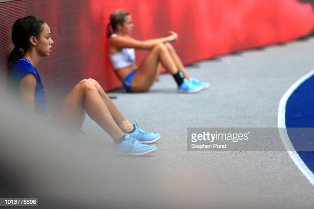 Katarina JohnsonThompson of Great Britain prepares to jump in the Women's Heptathlon High Jump during day three of the 24th European Athletics...