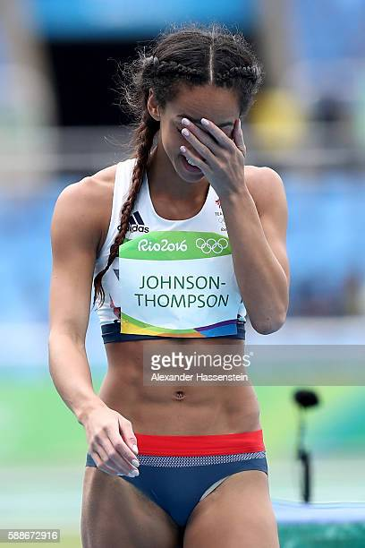 Katarina JohnsonThompson of Great Britain reacts after a scuessful attempt during the Women's Heptathlon High Jump on Day 7 of the Rio 2016 Olympic...