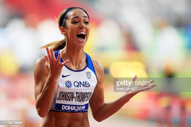 Katarina JohnsonThompson of Great Britain reacts after competing in the Women's Heptathlon 100 metres hurdles during day six of 17th IAAF World...