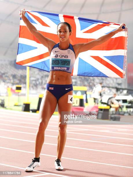 Katarina JohnsonThompson of Great Britain reacts after the 800 Metres and winning gold in the Women's Heptathlon during day seven of 17th IAAF World...