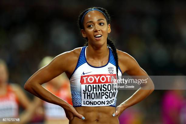 Katarina JohnsonThompson of Great Britain reacts after the Women's Heptathlon 800 metres during day three of the 16th IAAF World Athletics...