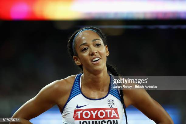 Katarina Johnson-Thompson of Great Britain reacts after the Women's Heptathlon 800 metres during day three of the 16th IAAF World Athletics...