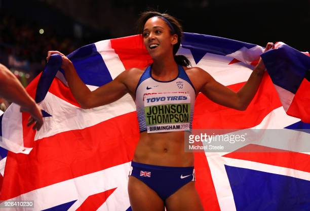 Katarina JohnsonThompson of Great Britain reacts after winning the 800 Metres Womens Pentathlon during the IAAF World Indoor Championships on Day Two...