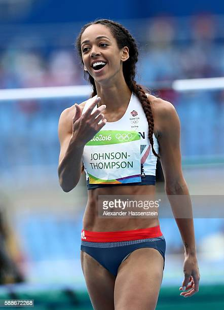 Katarina JohnsonThompson of Great Britain reacts during the Women's Heptathlon High Jump on Day 7 of the Rio 2016 Olympic Games at the Olympic...