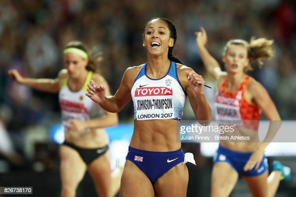 Katarina JohnsonThompson of Great Britain reacts following the Women's Heptathlon 200 metres during day two of the 16th IAAF World Athletics...