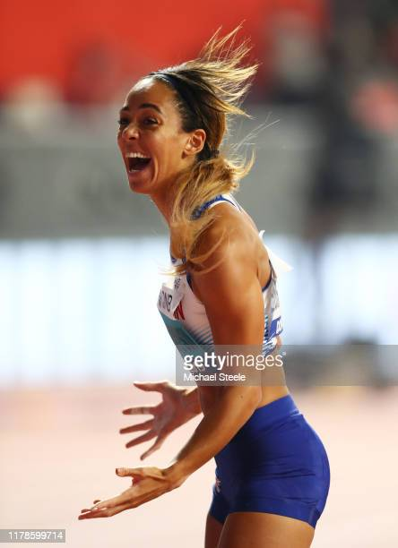 Katarina JohnsonThompson of Great Britain reacts in the Women's Heptathlon Shot Put during day six of 17th IAAF World Athletics Championships Doha...
