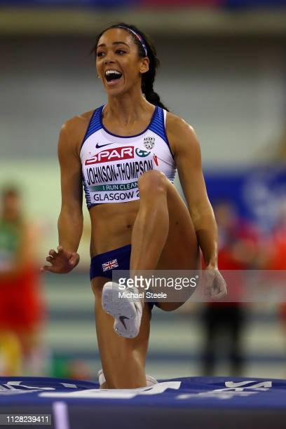 Katarina JohnsonThompson of Great Britain reacts to a jump during the Women's Pentathlon high jump on day one of the 2019 European Athletics Indoor...
