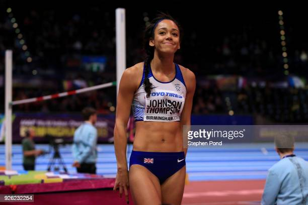 Katarina JohnsonThompson of Great Britain reacts while she competes in the High Jump Womens Pentathlon during the IAAF World Indoor Championships on...