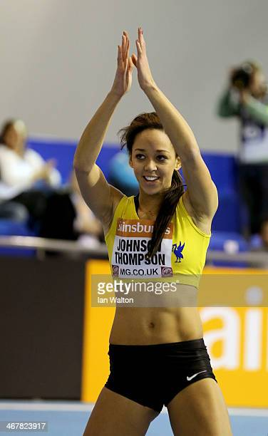 Katarina JohnsonThompson of Liverpool celebrates in the woman's High Jump Final at the Sainsbury's British Athletics Indoor Championships on February...