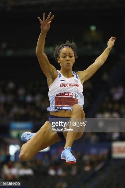 Katarina JohnsonThompson of Liverpool Harriers competes in the women's long jump final during day one of the SPAR British Athletics Indoor...
