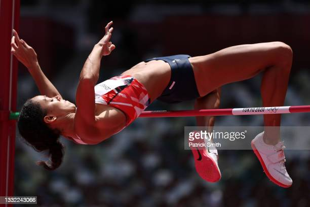 Katarina Johnson-Thompson of Team Great Britain competes in the Women's Heptathlon High Jump on day twelve of the Tokyo 2020 Olympic Games at Olympic...