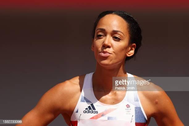Katarina Johnson-Thompson of Team Great Britain looks on during the Women's Heptathlon 100m Hurdles heats on day twelve of the Tokyo 2020 Olympic...