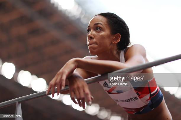 Katarina Johnson-Thompson of Team Great Britain looks on during the Women's Heptathlon High Jump on day twelve of the Tokyo 2020 Olympic Games at...