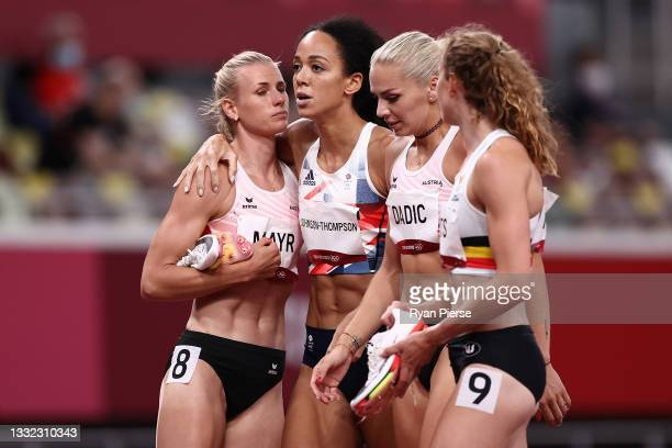 Katarina Johnson-Thompson of Team Great Britain sustains an injury in the Women's Heptathlon 200m on day twelve of the Tokyo 2020 Olympic Games at...