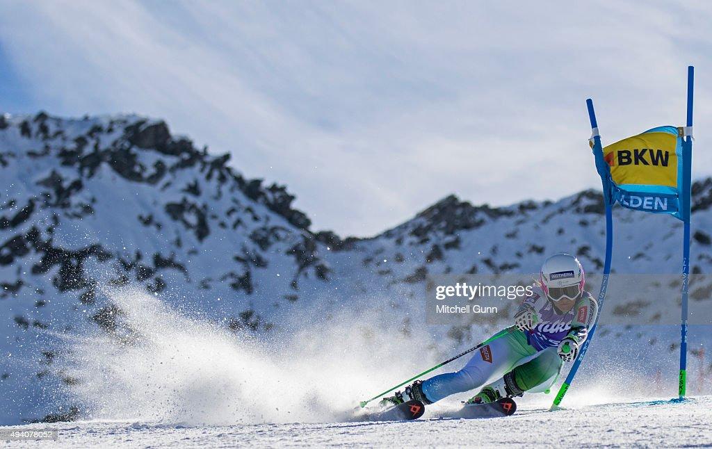 Katarina Lavtar of Slovenia during the Audi FIS Ski World Cup women's giant slalom race on the Rettenbach Glacier on October 24, 2015 in Soelden, Austria.