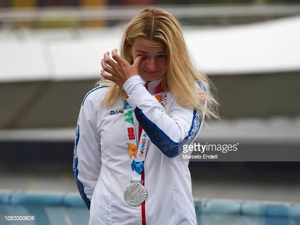 Katarina Pecsukova of Slovakia celebrates after winning the Silver medal in the Women Kayak Head to Head Sprint during day 6 of Buenos Aires Youth...