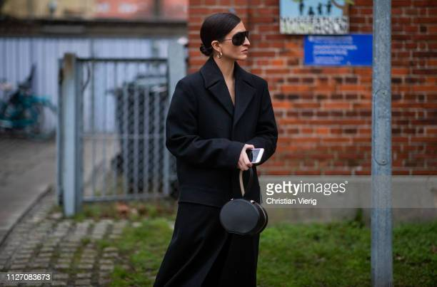Katarina Petrovic is seen outside Baum und Pferdgarten during the Copenhagen Fashion Week Autumn/Winter 2019 Day 3 on January 31 2019 in Copenhagen...