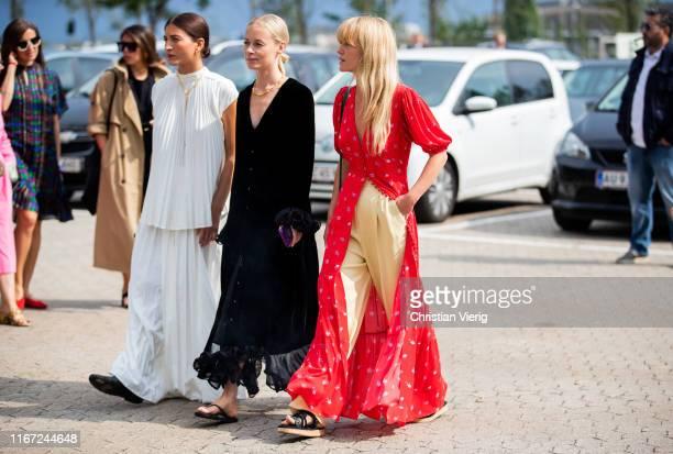 Katarina Petrovic, Thora Valdimars, Jeanette Madsen is seen outside Munthe during Copenhagen Fashion Week Spring/Summer 2020 on August 07, 2019 in...