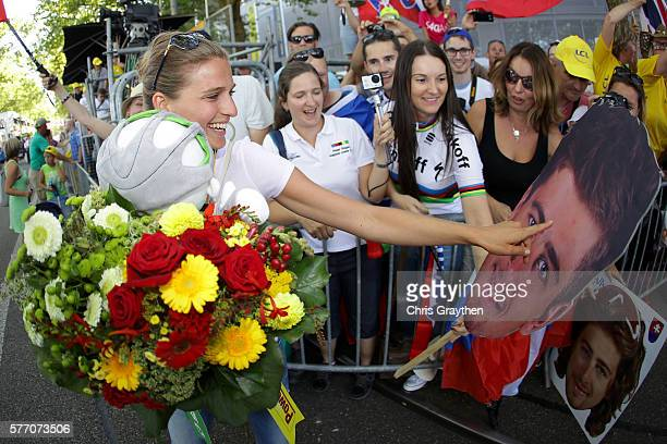 Katarina Sagan wife of Peter Sagan of Slovakia riding for Tinkoff poses with fans following stage 16 of the 2016 Le Tour de France a 209km stage from...