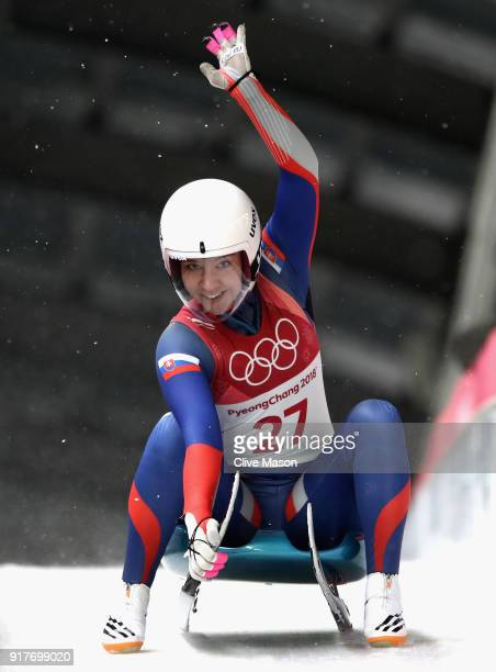 Katarina Simonakova of Slovakia reacts following the Luge Women's Singles on day four of the PyeongChang 2018 Winter Olympic Games at Olympic Sliding...